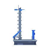 istock Для ИнтеSpaceship Launch Platform, Spaceport Flat Style Vector Illustration on White Backgroundрнета 1269832499