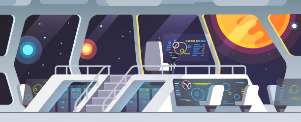 Spaceship main deck with big windows. Inside science fiction intergalactic space ship deck with transparent touch screens and crew chairs. Flat style isolated vector Interstellar spaceship main bridge interior big window view at nearby star. Inside science fiction intergalactic space ship deck with transparent touch screens and crew chairs. Flat vector illustration mission control stock illustrations