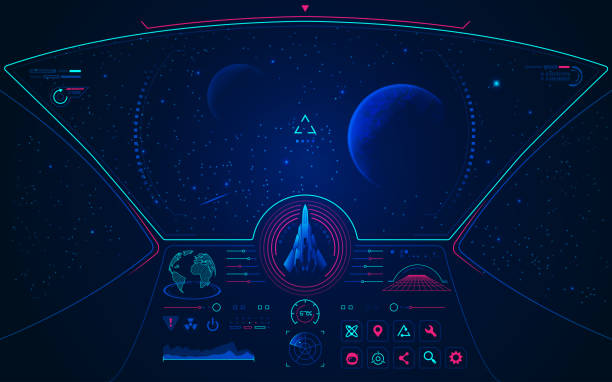 spaceship mode graphic of spaceship user interface with galaxy view video game stock illustrations