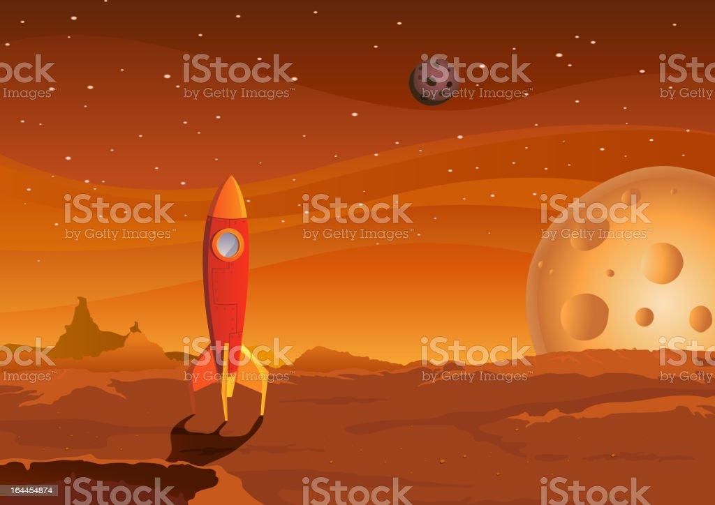 Spaceship On Martian Landscape royalty-free stock vector art