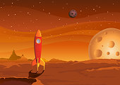 Vector illustration of a cartoon spaceship landing on martian red desert landscape. Vector eps and high resolution jpeg files included. No transparency/alpha  channel