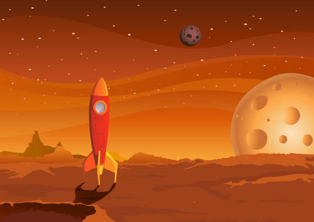 illustrations, cliparts, dessins animés et icônes de vaisseau spatial sur martian paysage - mars