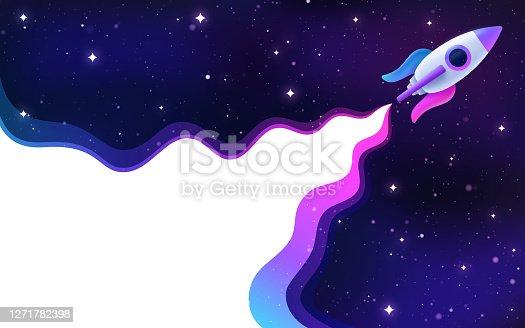 istock Spaceship Rocket Blasting Off into Space 1271782398