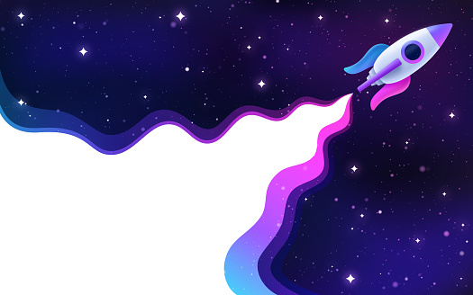 Rocket spaceship blasting off into outer space stars nebula constellation abstract vapor background.