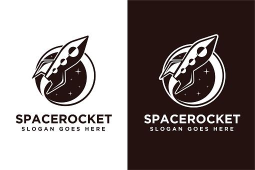 Spaceship rocket exploration vector icon on white background