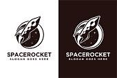istock Spaceship rocket exploration vector icon on white background 1282247473