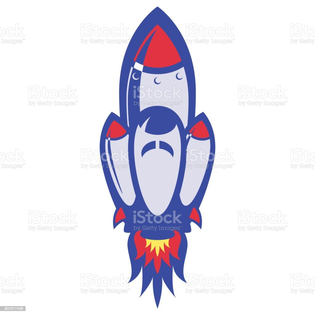 Spaceship takes off in white background vector art illustration