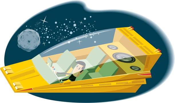 Spaceship with sound system vector art illustration