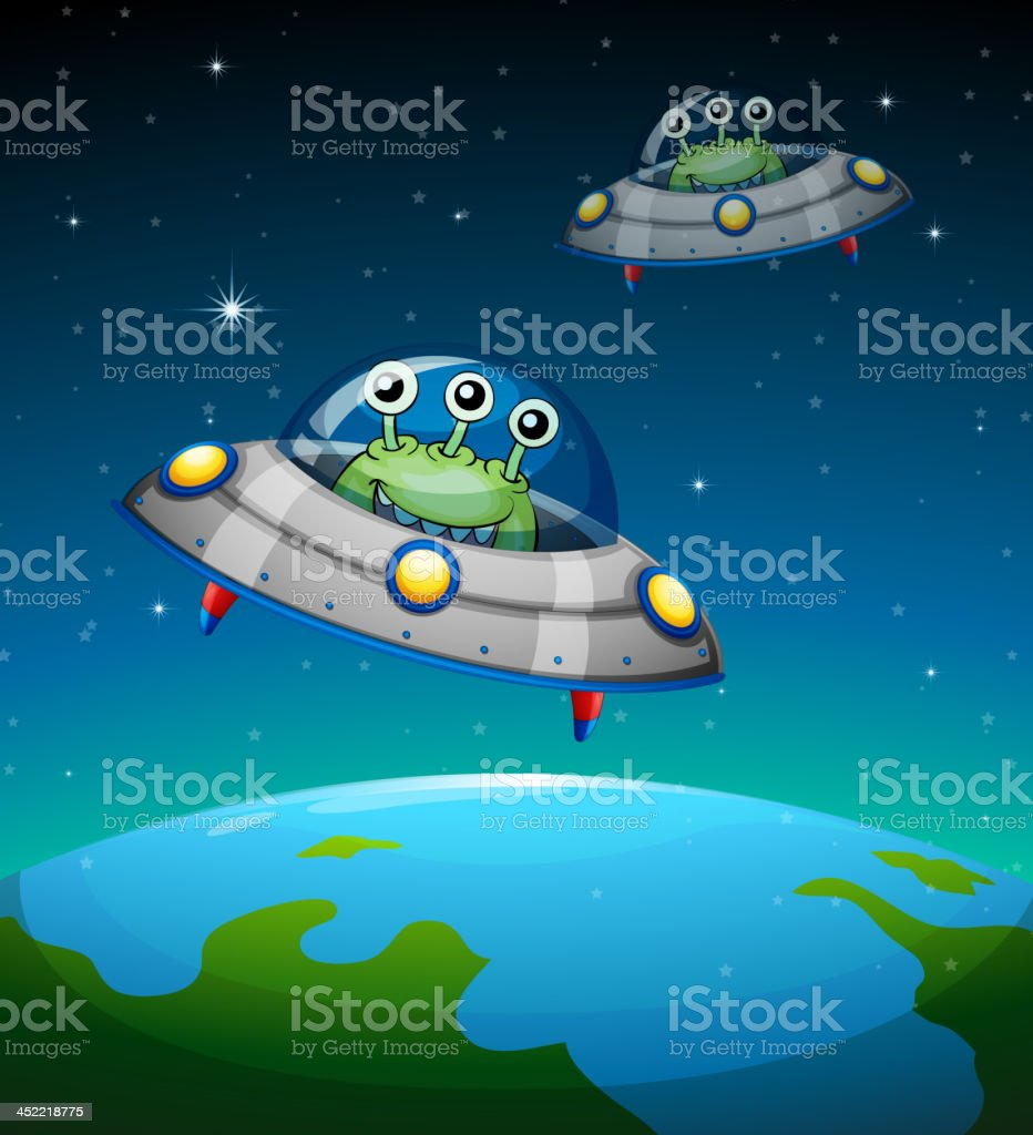 Spaceships with aliens royalty-free stock vector art