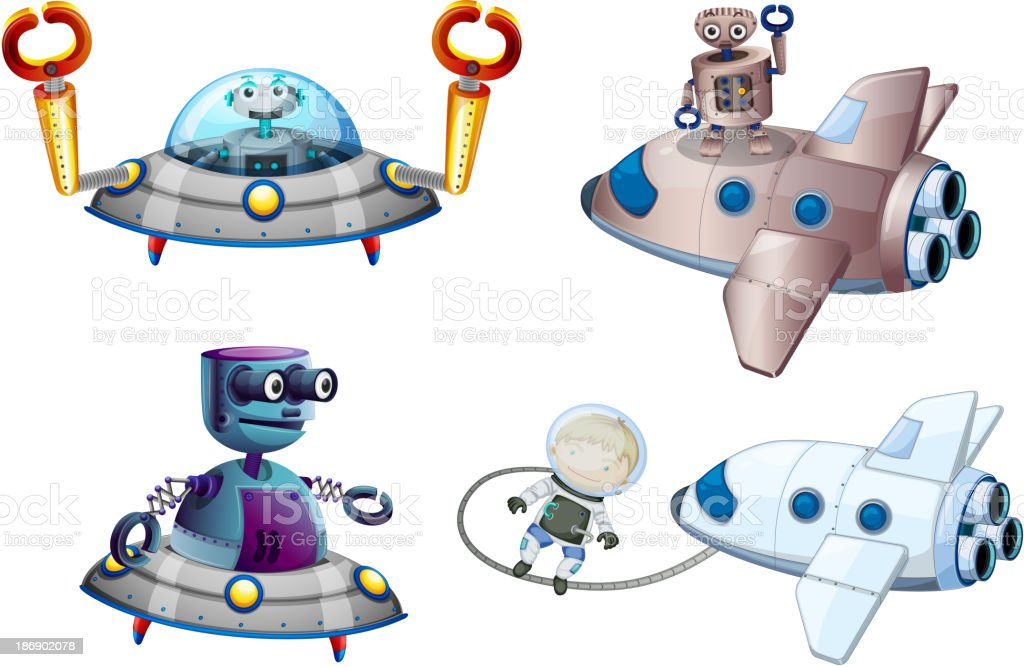 Spaceships with robot and a young boy near the plane royalty-free spaceships with robot and a young boy near the plane stock vector art & more images of adult