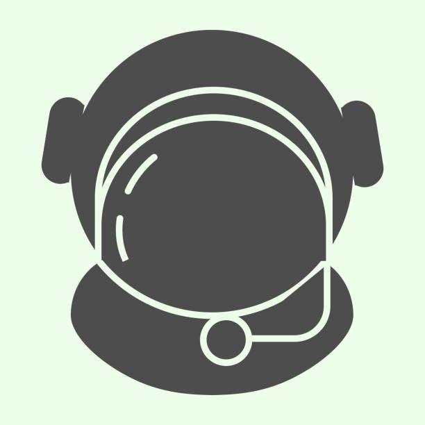 우주복 솔리드 아이콘입니다. 흰색 배경에 보호 유리 문말 스타일의 그림과 우주 비행사 헬멧. 모바일 컨셉과 웹 디자인을 위한 공간 및 우주 표지판. 벡터 그래픽. - 모자 모자류 stock illustrations