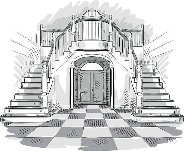 große halle und treppenhaus zeichnen, vektor-illustration - ballsäle stock-grafiken, -clipart, -cartoons und -symbole