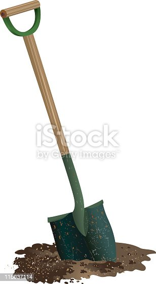 istock Spade Shovel with wooden handle Digging in pile of Soil 115037114