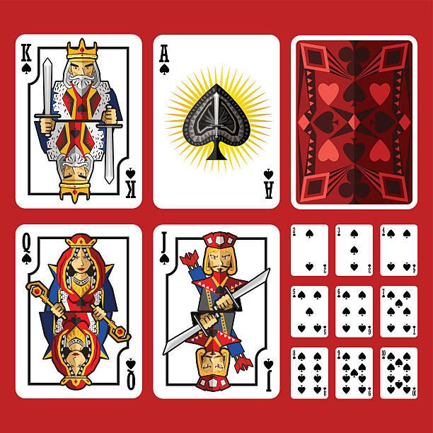 spade anzug spielkarten voller satz - holzdeck stock-grafiken, -clipart, -cartoons und -symbole