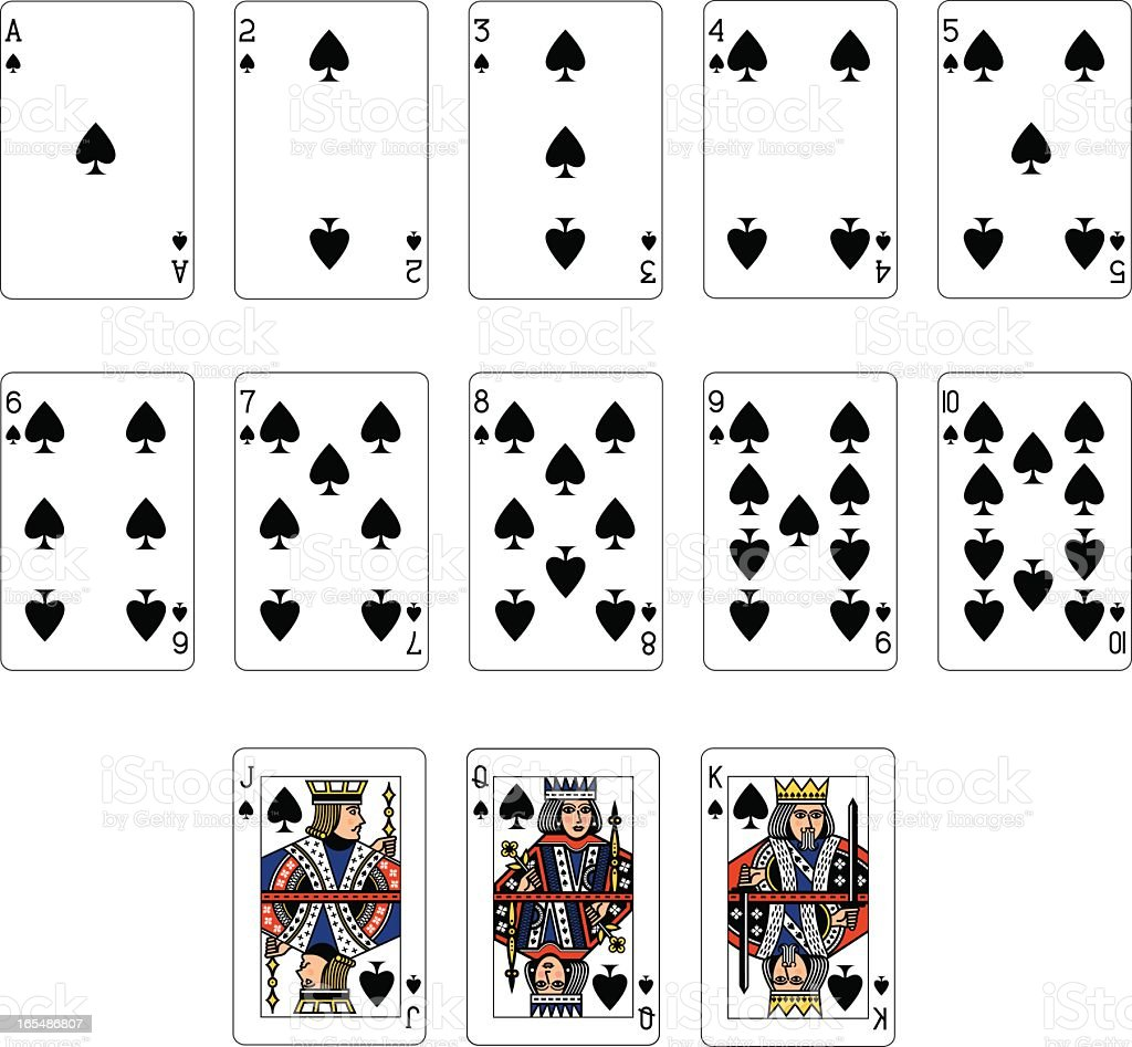Spade Suit Playing Cards royalty-free stock vector art