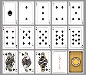 Playing cards, spade suit, joker and back. Faces double sized.
