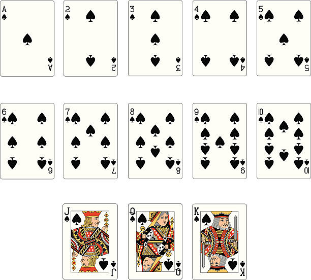 spade für zwei karten - kartenspielen stock-grafiken, -clipart, -cartoons und -symbole