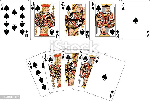Two examples of a Spade playing card 'Royal Flush.'