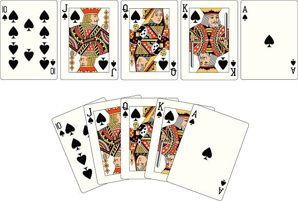 spade anzug zwei royal flush spielkarten - kartenspielen stock-grafiken, -clipart, -cartoons und -symbole