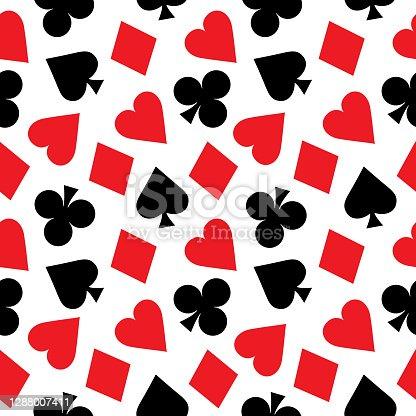 istock Spades Hearts Clubs Diamonds Seamless Pattern 1288007411