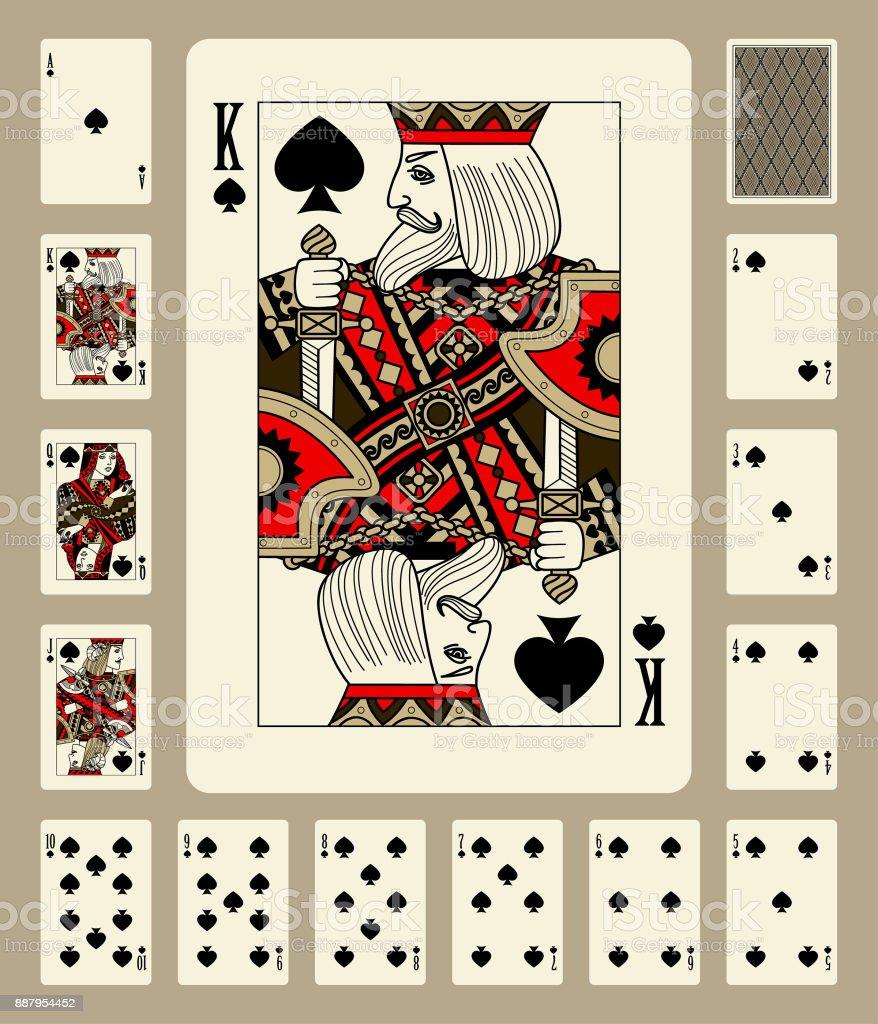 Espadas terno cartas de baralho - ilustração de arte em vetor
