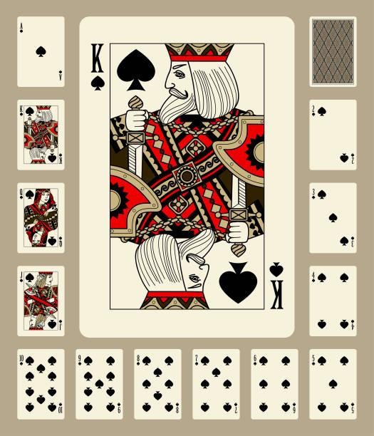 spaten anzug spielkarten - kartenspielen stock-grafiken, -clipart, -cartoons und -symbole