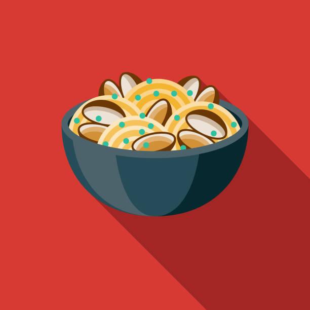 bildbanksillustrationer, clip art samt tecknat material och ikoner med spaghetti alle vongole italiensk mat ikon - pasta vongole