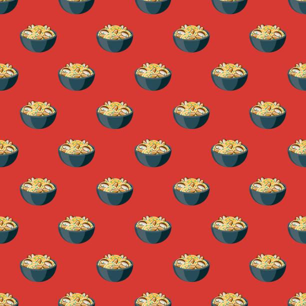 bildbanksillustrationer, clip art samt tecknat material och ikoner med spaghetti alle vongole italiensk mat mönster - pasta vongole