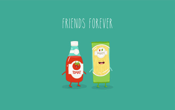 Spaghetti and ketchup are friends. Vector graphics. Spaghetti and ketchup are best friends. Vector graphics tomato sauce stock illustrations