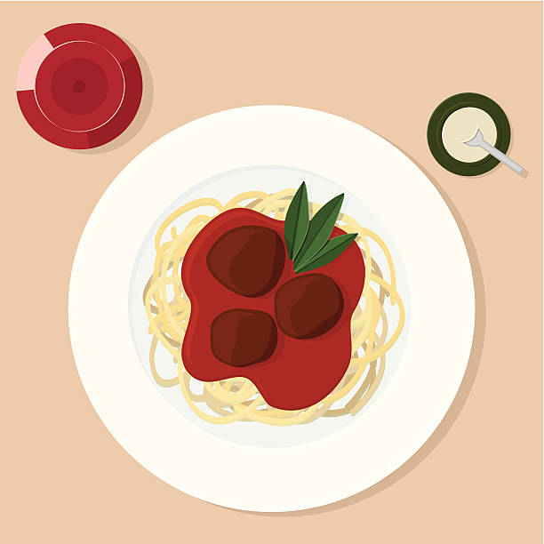 Spaghetti and Meatballs vector art illustration