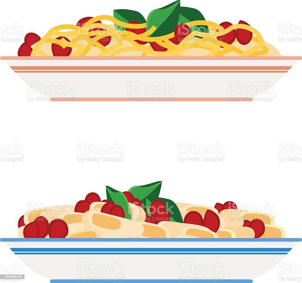 Spaghetti di pasta e piatti - illustrazione arte vettoriale