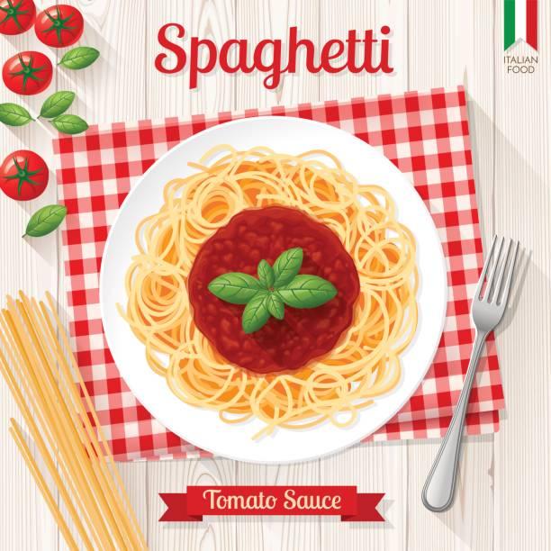Spaghetti and tomato sauce, italian pasta Spaghetti and tomato sauce with basil on white plate tomato sauce stock illustrations
