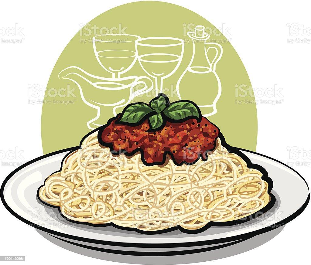 Spaghetti bolognese vector art illustration