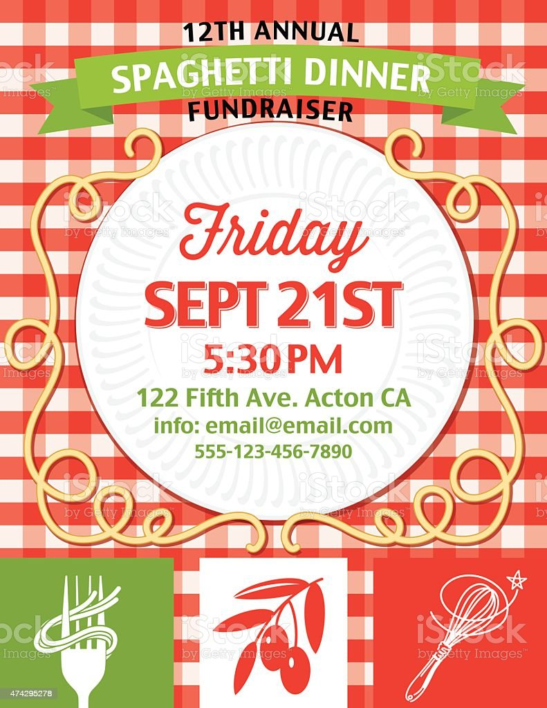 Spaghetti Dinner Fundraiser Invitation Vertical Template On Red – Fundraiser Template Free