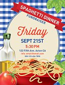 Spaghetti Dinner  Invitation Poster Template on blue plaid Background.  At the bottom  is a bowl of spaghetti,  herb sprigs, a tomato and bottle of olive oil. In the middle is a pastel frame with a red ribbon banner at the top. There is text in the middle of the frame.  Spaghetti noodle 'brush' is included in the brush palette.