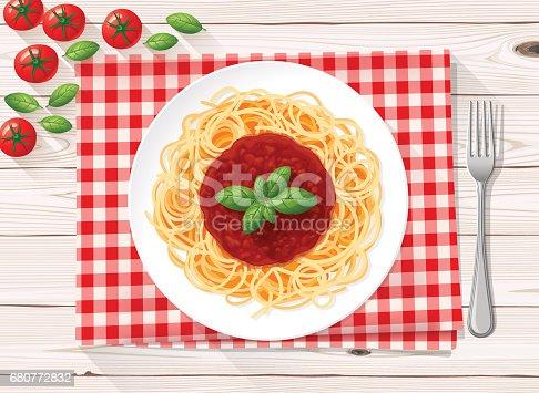 istock Spaghetti italian pasta with tomato sauce and fresh basil 680772832