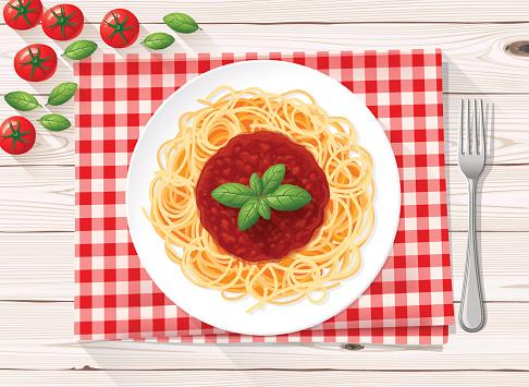 Spaghetti italian pasta with tomato sauce and fresh basil