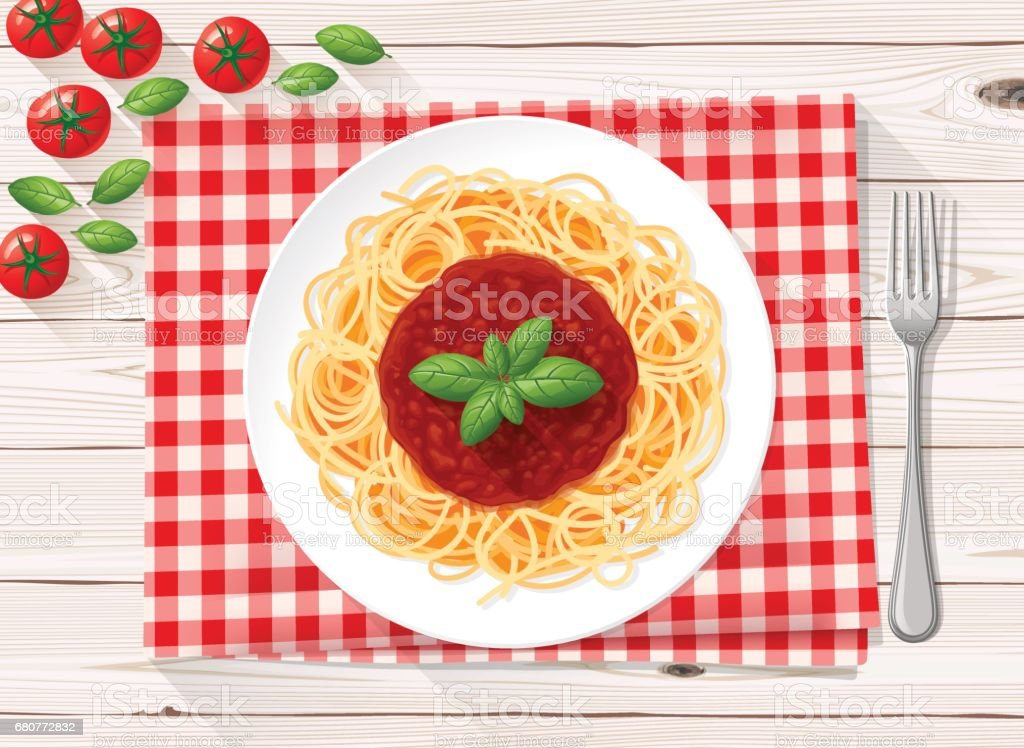 Spaghetti italian pasta with tomato sauce and fresh basil vector art illustration