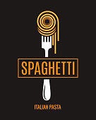 Spaghetti on fork design. Italian pasta logo on black background 8 eps