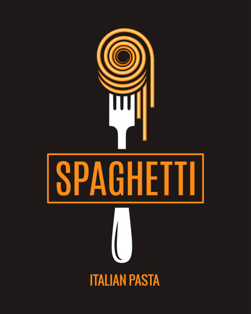 illustrazioni stock, clip art, cartoni animati e icone di tendenza di spaghetti on fork design. italian pasta logo on black background - pasta
