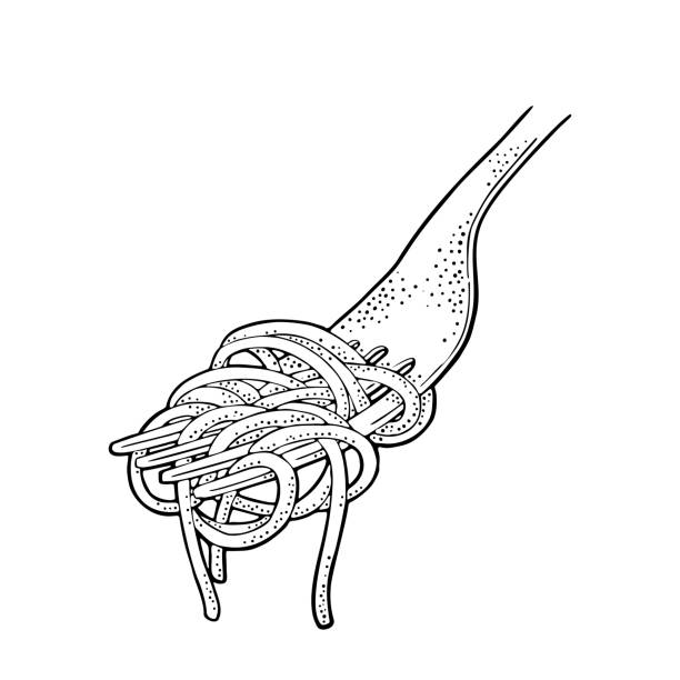 Spaghetti on fork. Vector vintage engraving black illustration isolated on white background. Spaghetti on fork. Vector vintage engraving black illustration isolated on white background. Hand drawn design element vermicelli stock illustrations