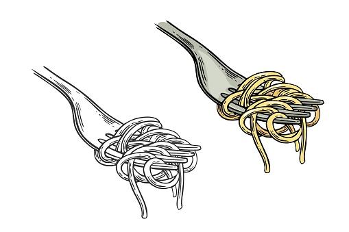Spaghetti on fork. Vector vintage engraving