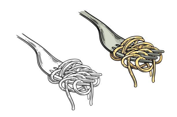 Spaghetti on fork. Vector vintage engraving Spaghetti on fork. Vector vintage engraving color and black illustration isolated on white background. vermicelli stock illustrations