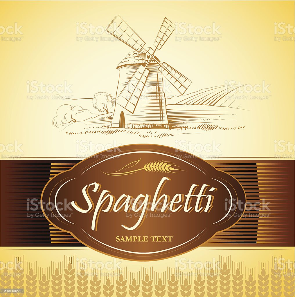 spaghetti. pasta. Bakery. labels, pack for spaghetti, pasta vector art illustration