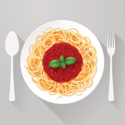 Spaghetti Pasta with tomato sauce and basil