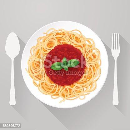 istock Spaghetti Pasta with tomato sauce and basil 689896272