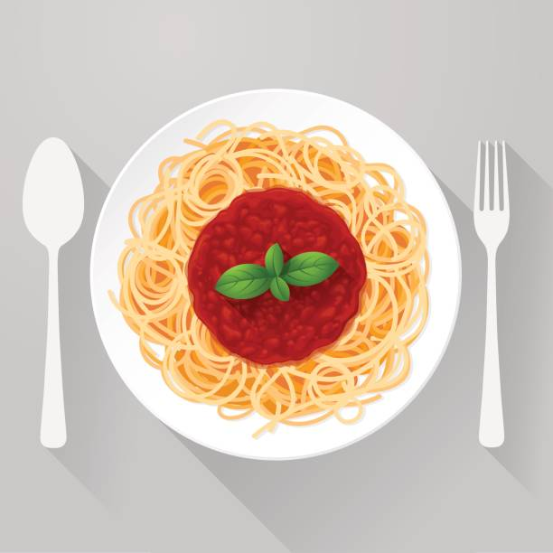 illustrazioni stock, clip art, cartoni animati e icone di tendenza di spaghetti pasta with tomato sauce and basil - pasta