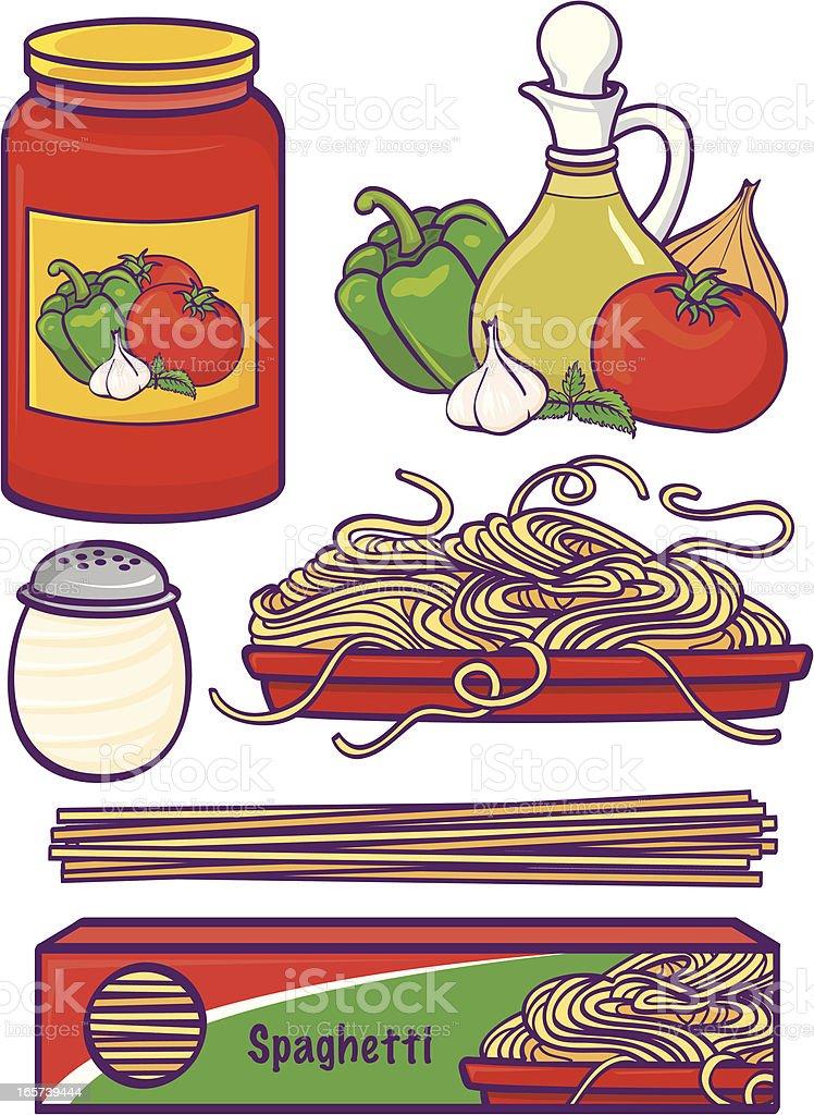 Spaghetti Set vector art illustration