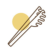 istock Spaghetti tongs vector icon. Kitchen appliances 1297076441