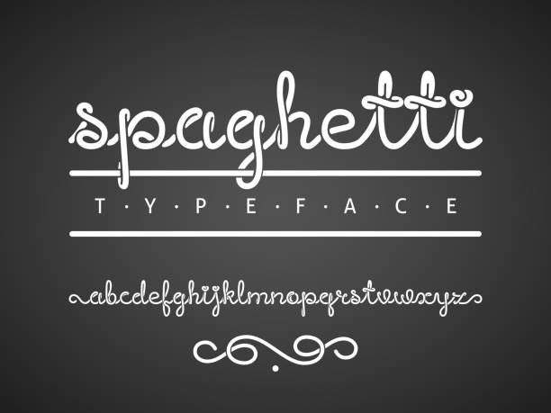 Spaghetti typeface Vector alphabet from letters written by one continuous line like a spaghetti. All the letters are grouped separately. Eps8. RGB. Global colors. pasta stock illustrations